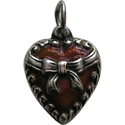 Vintage Burnt Orange Enameled Bow Sterling Heart Charm