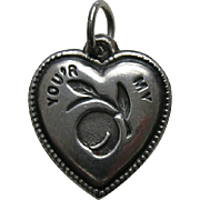 Vintage Rebus You'r My Peach Sterling Heart Charm