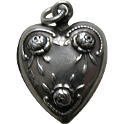 Vintage Double Sided Rose Sterling Heart Charm