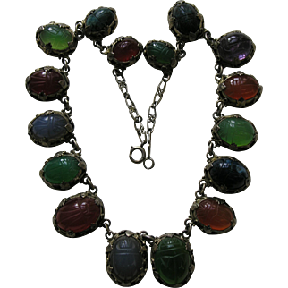 Egyptian Revival Carved Scarab Sterling Necklace