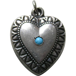 Vintage Turquoise Paste Large Sterling Heart Charm