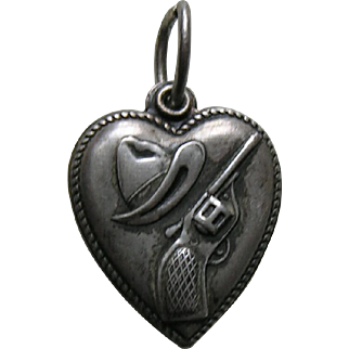 Vintage Cowboy Hat and Gun Sterling Heart Charm