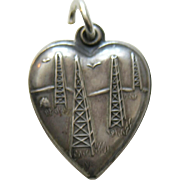"Vintage Oil Well ""Fred"" Sterling Heart Charm"