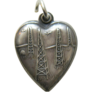 """Vintage Oil Well """"Fred"""" Sterling Heart Charm"""