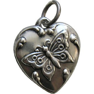 """Vintage Butterfly """"Bennie"""" Sterling Heart Charm"""