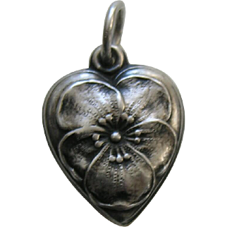 Vintage Pansy Sterling Heart Charm