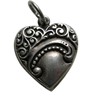 "Vintage Scroll Design ""Vera Mae"" Sterling Heart Charm"