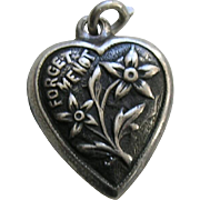 "Vintage Forget-Me-Not ""Grace"" Sterling Heart Charm"