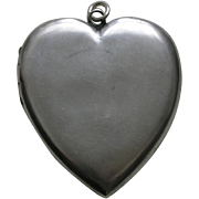Victorian Large Sterling Heart Locket