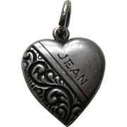 "Vintage Half Scroll ""Jean"" Sterling Heart Charm"