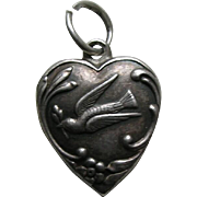 Vintage Dove with Olive Branch Sterling Heart Charm