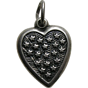 "Vintage Stars ""Lois"" Sterling Heart Charm"