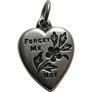 "Vintage Forget-Me-Not ""Lois"" Sterling Heart Charm"