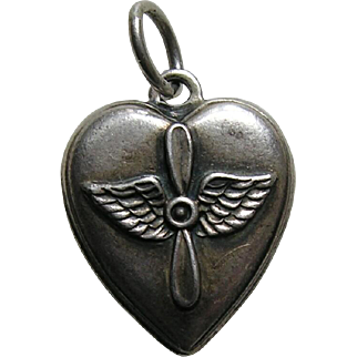 Vintage Army Air Corp Sterling Heart Charm