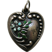 Vintage Large Enameled Forget-Me-Not Sterling Heart Charm