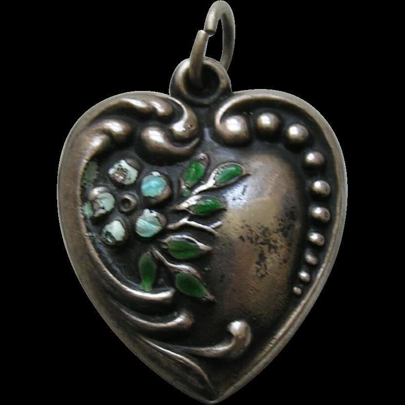 Vintage Large Enameled Forget-Me-Not Sterling Heart Charm