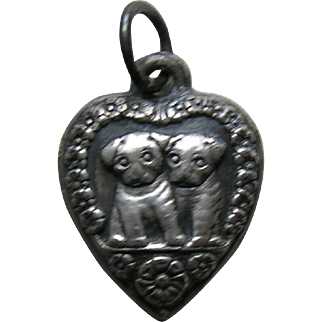Vintage Puppies Sterling Heart Charm