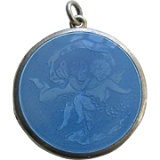 Antique Enameled Two Cherubs Sterling Locket