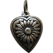 "Vintage Daisy ""Rena"" Sterling Heart Charm"