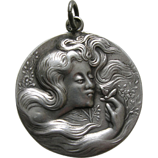 Vintage Lady and Butterfly Silver Pendant