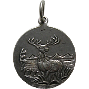 "Antique Stag/Deer ""EN"" Coin Silver Love Token Charm"
