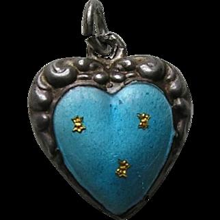 "Antique Turquoise Enamel Fleur-des-lis ""Clyde"" Double Sided Sterling Heart Charm"