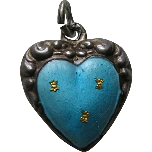 "Antique Turquoise Enamel Fleur-des-lis ""Clyde"" Double Sided Sterling Heart Charm"