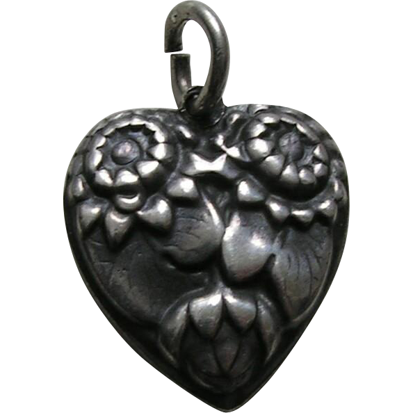 Walter Lampl Water Lily July Flower of the Month Sterling Heart Charm