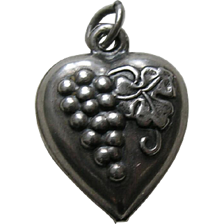 """Vintage Grapes """"Candy"""" Sterling Heart Charm"""