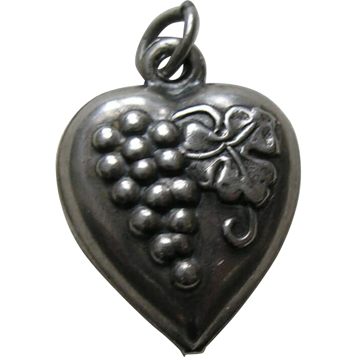 "Vintage Grapes ""Candy"" Sterling Heart Charm"