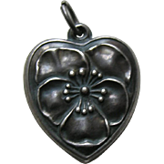 Vintage Pansy Large Sterling Heart Charm