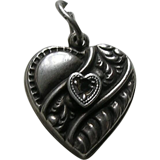 "Vintage Sapphire Paste Scroll Design ""Mrs. Rogers"" Sterling Heart Charm"