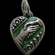 Vintage Green Enameled Friendship/Handshake Sterling Heart Charm