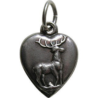 "Antique Deer ""M.K.B."" Sterling Heart Charm"