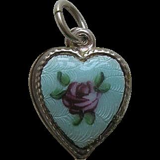 Vintage Enameled Pink Rose Sterling Heart Charm