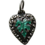 Vintage Enameled Green Leaf Sterling Heart Charm