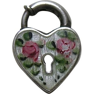 Walter Lampl Enameled Pink Roses Sterling Heart Lock