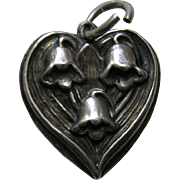 Walter Lampl Lily of the Valley May Flower of the Month Sterling Heart Charm
