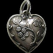 Vintage Wildflower Sterling Heart Charm