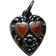 Vintage Red Enameled Double Heart Sterling Heart Charm