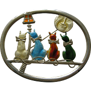 Vintage Truart Enameled Cats and Moon Vermeil Brooch