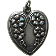 """Vintage Large Cascading Flowers """"Mother"""" Sterling Heart Charm"""