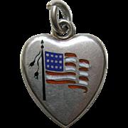 "Antique Enameled American Flag ""CEG"" Sterling Heart Charm"