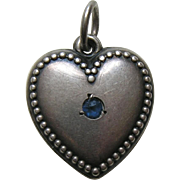 "Vintage Sapphire Paste Beaded Edge ""Mary Lou"" Sterling Heart Charm"