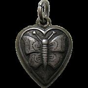 """Vintage Butterfly """"La Nelle"""" Sterling Heart Charm"""
