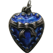 "Vintage Enameled Blue Bow ""Jackie"" Sterling Heart Charm"