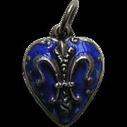 "Vintage Blue Enameled Fleur-de-lis ""Pat"" Sterling Heart Charm"