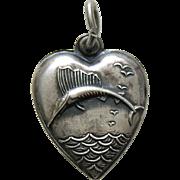 Vintage Sailfish Sterling Heart Charm