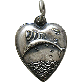 Vintage Sailfish Sterling Heart Charm