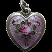 "Walter Lampl Enameled Pink Rose ""Grandma"" Sterling Heart Charm"